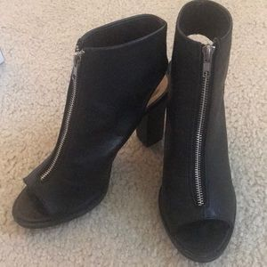 Report black zip up booties - worn once, like new!